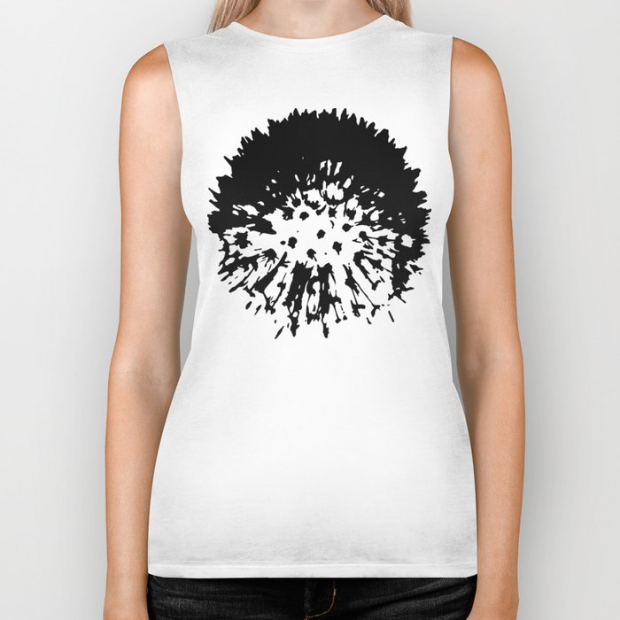 Dandelion [black on white] Biker Tank