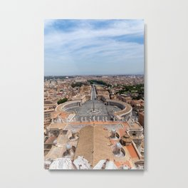 Saint Peter's Square in Vatican and aerial view of Rome Metal Print