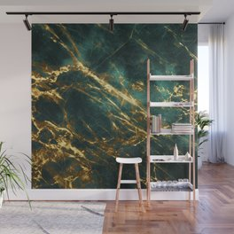 Glamorous Green Faux Marble Pattern With Gold Veins Wall Mural