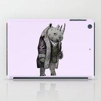 suits iPad Cases featuring Animals in Suits - Black Rhino by Katadd