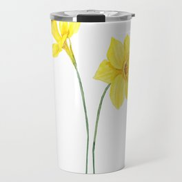 two botanical yellow daffodils watercolor Travel Mug
