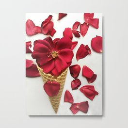 Red Flowers Red Roses Waffle Cone Kitchen Art Metal Print