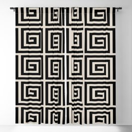 Greek Key Pattern 123 Black and Linen White Blackout Curtain