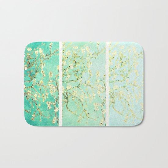 Vincent Van Gogh Almond Blossoms Panel art Aqua Green Bath Mat