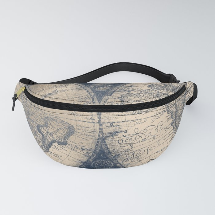Antique World Map White Gold Navy Blue by Nature Magick Fanny Pack