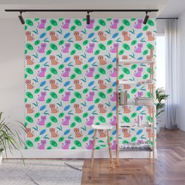 Funny cute happy little baby pink orange tigers tropical exotic green blue leaves jungle pattern Wall Mural