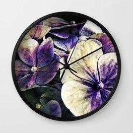 Hortensia flowers in vintage grunge watercoloring style Wall Clock