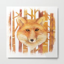 Fox in the forest- Animal abstract watercolor illustration on #Society6 Metal Print