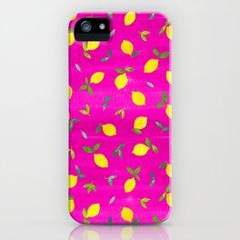 Lemon Citrus on Pink Watercolor iPhone Case