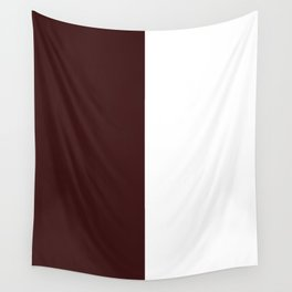 White and Dark Sienna Brown Vertical Halves Wall Tapestry