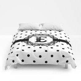 Black Monogram: Letter E Comforters