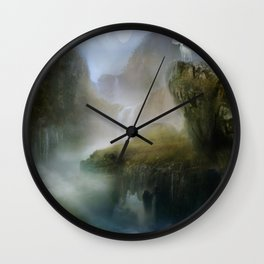 His Realm - White stag in beautiful otherwordly Landscape Wall Clock