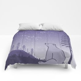 Bear and Constllations bule Comforters