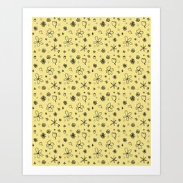 Vintage Inspired Canary Yellow Floral Pattern Art Print