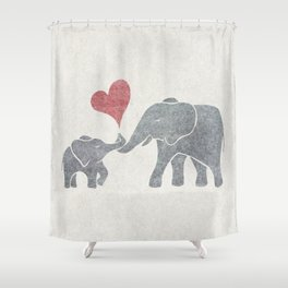 Elephant Hugs with Heart in Muted Gray and Red Shower Curtain