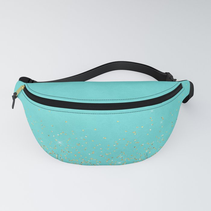 Sparkling gold glitter confetti on aqua teal damask background Fanny Pack