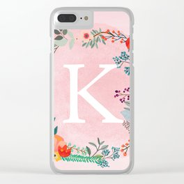 Flower Wreath with Personalized Monogram Initial Letter K on Pink Watercolor Paper Texture Artwork Clear iPhone Case