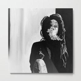 Girl Smoking Metal Print