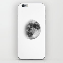Waxing Gibbous | 3/4 Moon | Black-and White | Space | Watercolor Painting | Illustration iPhone Skin