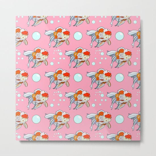 Lion Head Goldfish Pink Metal Print