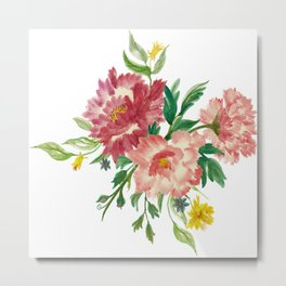Watercolor of Flower Bouquet Metal Print