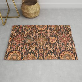 Floral Medallion I // 18th Century Colorful Blue Lime Green Pink Sapphire Plum Burlap Brown Pattern Rug