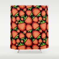 strawberry Shower Curtains featuring Strawberry by LaDa