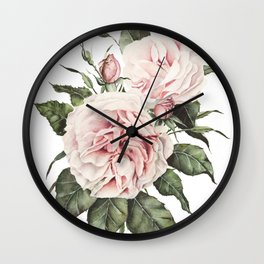 Pink Garden Roses Watercolor Wall Clock
