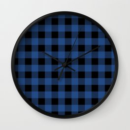 Buffalo Plaid Blue Black Lumberjack Pattern Wall Clock
