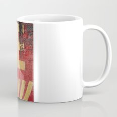 Yellow letters on red Mug