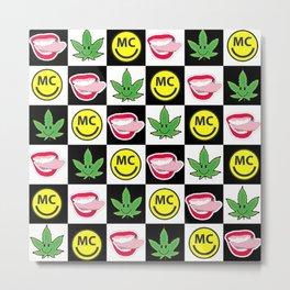 Miley Checkerboard Pattern Metal Print