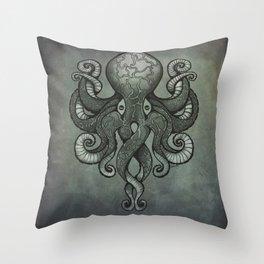 Grey Dectapus Throw Pillow
