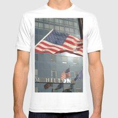 Flag Stars & Stripes Millenium Hilton Ground Zero White Mens Fitted Tee SMALL