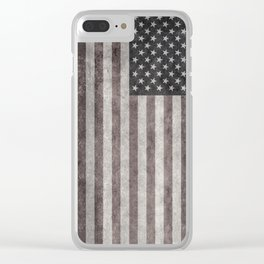 US Flag in vintage retro style Clear iPhone Case