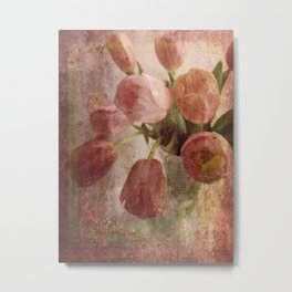 peach tulips Metal Print