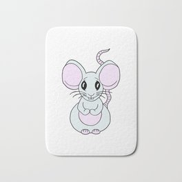 Friendly drawn mouse for children and adults Bath Mat