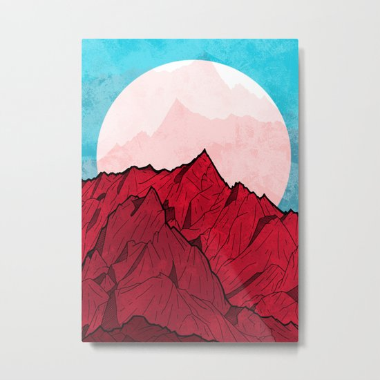 Red mountains under the great moon Metal Print