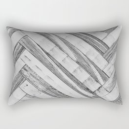 Vintage Diagonal Design //Black and White Wood Accent Decoration Hand Scraped Design Rectangular Pillow