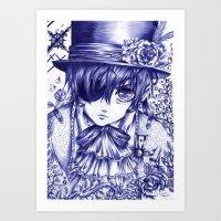 kuroshitsuji Art Prints featuring Ciel Phantomhive by Furiarossa