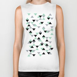 Triangles Mint Grey Biker Tank