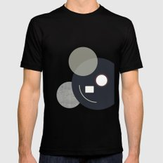 Abstract Concrete Circles Design Print Mens Fitted Tee MEDIUM Black