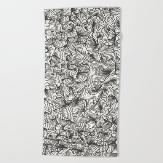 Black Inklings Beach Towel