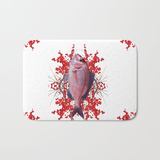 Red Berries Fish Bath Mat