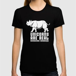 Unicorns Are Real 3, white text T-shirt