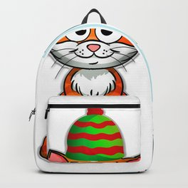 Hay How Are You Christmas Cat with Blue Letters Backpack