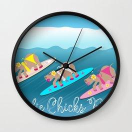 Surfie Chicks Rule Wall Clock