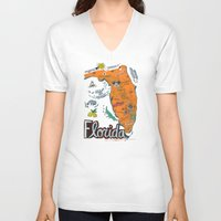 florida V-neck T-shirts featuring FLORIDA by Christiane Engel