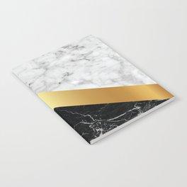 Arrows - White Marble, Gold & Black Granite #147 Notebook
