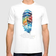 Colorful Feather Art -  Blessing - By Sharon Cummings White Mens Fitted Tee MEDIUM