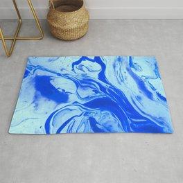 Teal watercolor marble Rug